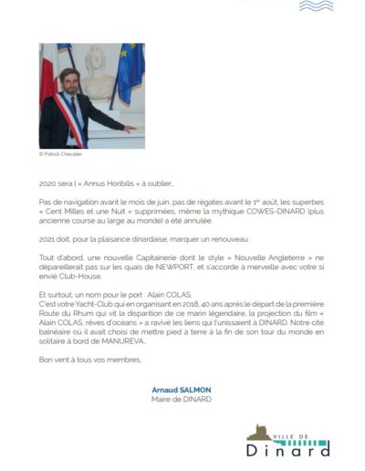 Mot du Maire de la revue 2021 du Yacht Club de Dinard