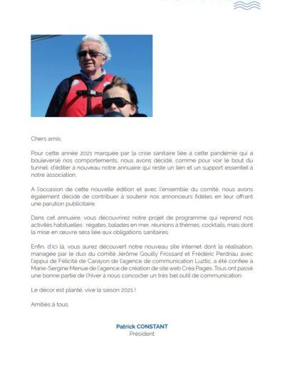 Mot du Président de la revue 2021 du Yacht Club de Dinard